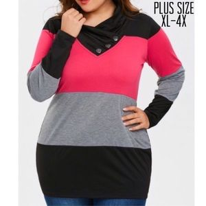 Tops - Plus Size Color Block Long Sleeve Tee